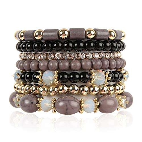 RIAH FASHION Multi Layer Bead Bracelet - Colorful Stacking Beaded Strand Stretch Cuff Statement Bangles Set (Black)