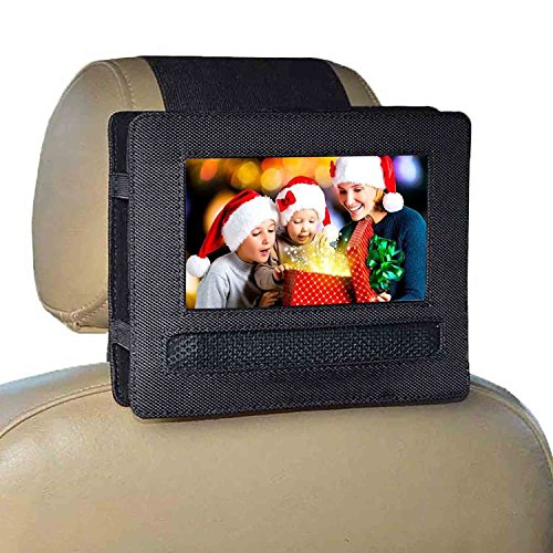 RUISIKIOU Universal Car Headrest Mount Holder, New Updated Version In-Car DVD Player Holder Headrest Mount Holder Case Rubber Paste Style, Fits All Cars Vehicles for DVD Player Devices (7-7.5 Inch)