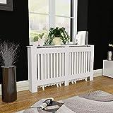 Tidyard 2 pcs Radiator Cover 59.8 inch White MDF Additional Shelf Space for Living Room Furniture Decor White