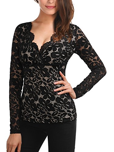 DJT Women's Scalloped Floral Lace V Neck Long Sleeve Blouse Shirt Top Medium Black