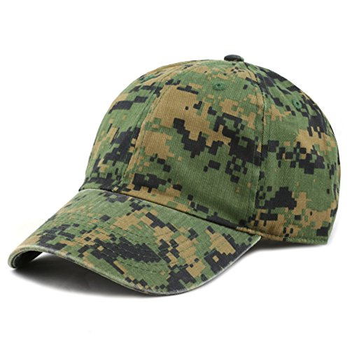 - The Hat Depot Unisex Blank Washed Low Profile Cotton and Denim Baseball Cap Hat (Digi Camo)