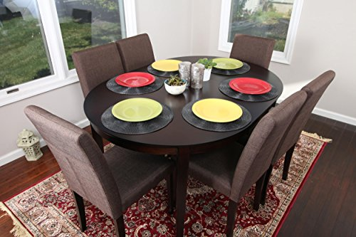 Chocolate Brown Linen 7pc Oval Solid Top Dining Table Contemporary Cappuccino Finish Solid Wood Dining Table Chairs Set Oval