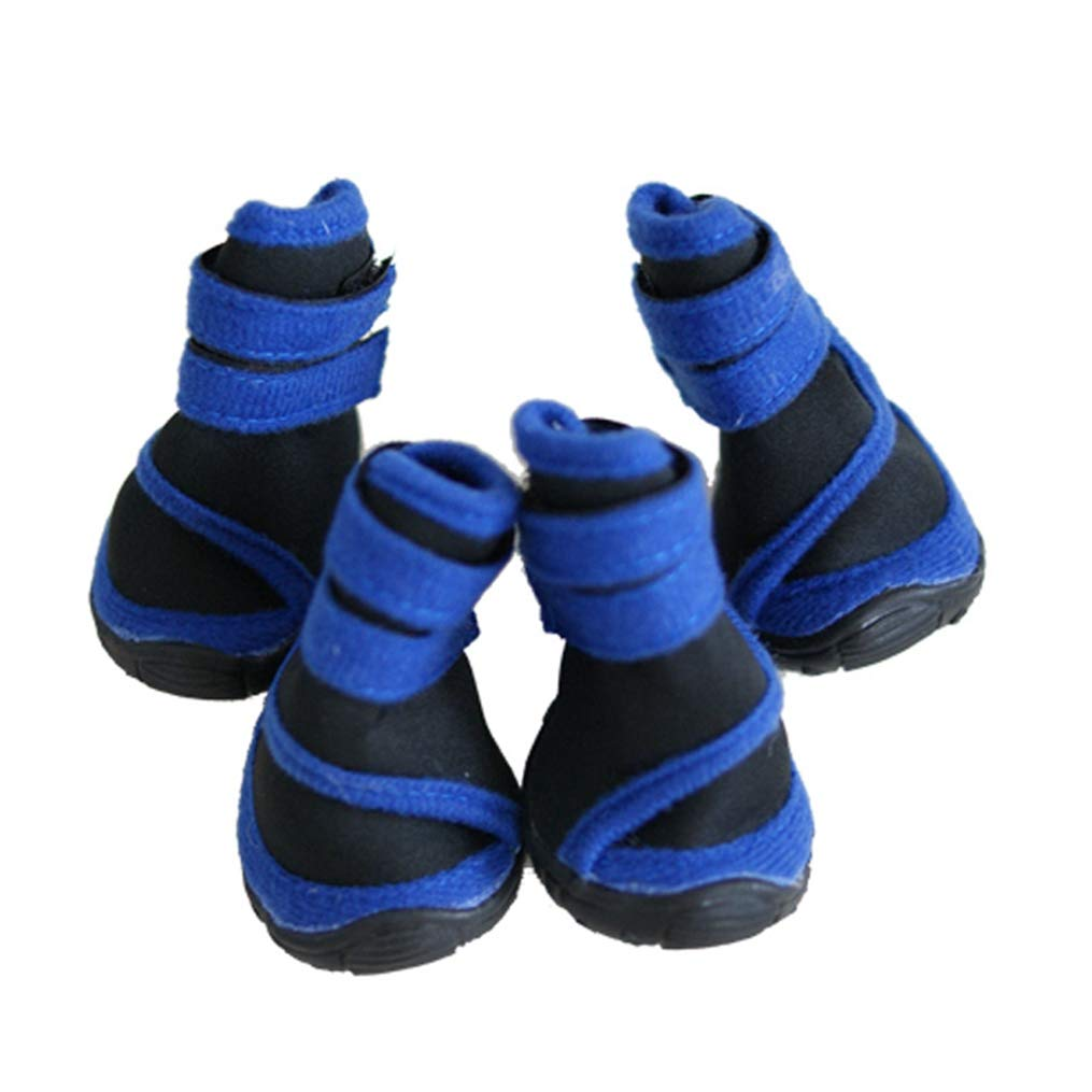 bluee M85x66mm bluee M85x66mm AOBRITON 4 Pcs Set Small Medium Large Dog shoes Spring Autumn Winter Big Pet Boots Outdoor Warm Non-Slip shoes for Dogs Paw Predection