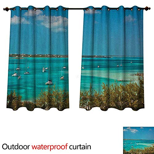 Sailboat Home Patio Outdoor Curtain Sailboats and Power Boats Anchored in Crystal Clear Waters of The Bahamas W96 x L72(245cm x 183cm) ()