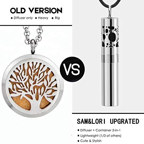 SAM & LORI Diffuser Necklace with Dispenser and Container 2-in-1 Stainless Steel Aromatherapy Essential Oil Diffuser Pendant Locket Necklace with 8 Colors Pads for Women Men Kids, Leather