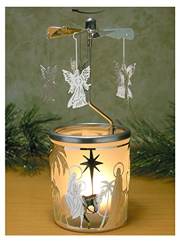 Banberry Designs Spinning Angels Candle Holder with Holy Family Scene Scandinavian Style by Banberry Designs