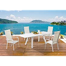 Milan Melbourne Matte White Outdoor Aluminum Extendable Dining Set with High Back Chairs