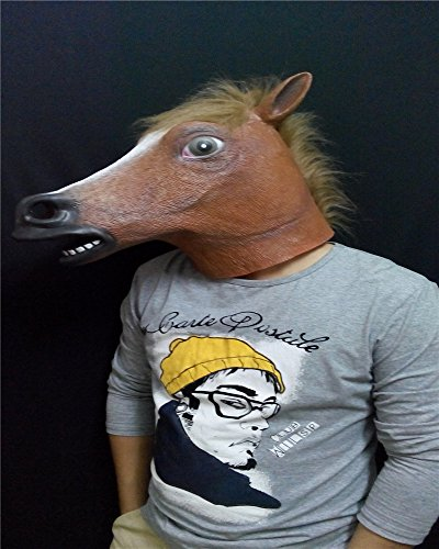 Costumes Horsehead (2015 - The unicorn horsehead horse mask Halloween costume party Scare people terrorist party silica gel White animal)