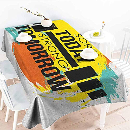 familytaste Fitness,Table Cloth for Dinner Parties Sore Today Strong Tomorrow Gym Quote Typography Colorful Energetic Brushstrokes 54