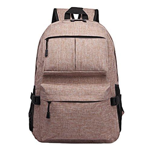 ZKOO Impermeable Mochilas Lona Mochila Escolar Bolsa de Viaje Mujeres Hombres Mochilas de Portátil Daypacks al Aire Libre Ocio Caqui