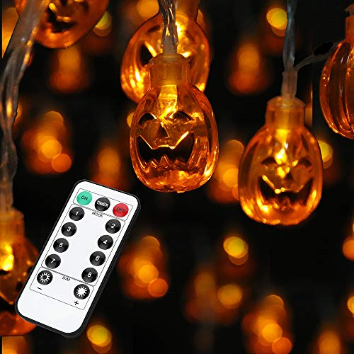 JOYLAMP Halloween String Lights,30LEDs Halloween Lights,13ft Battery Powered 3D Pumpkin Lights Halloween Decoration Lights with 8 Modes IP65 Waterproof (Warm White)