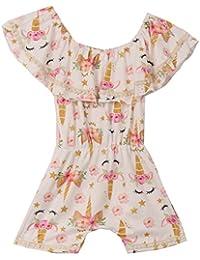 24c4382eaf9d Little Girls Floral Unicorn Off Shoulder Birthday Party Romper Clothing