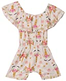 Little Girls' Floral Unicorn Off Shoulder Birthday Party Romper Clothing Gold 4 M (R301-04)
