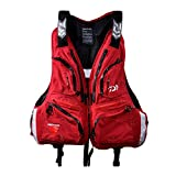Mens Fishing Vest Multi-pocket Outdoor Vest Anti-UV Safety Jacket (red, XXL/185cm(100-110kg))
