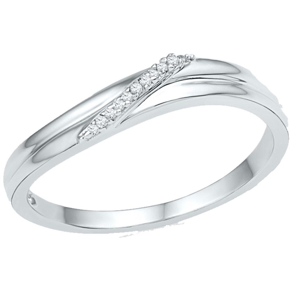 10kt White Gold Band Style Ring Womens Diamond Simple Single Row .03 Cttw by IdealCutGems-JSS (Image #1)