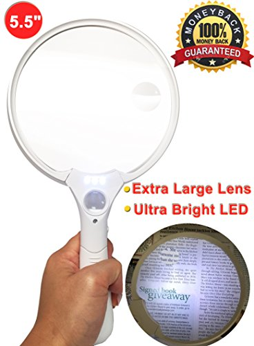 MagniPros 5.5 Inch Extra Large LED Handheld Magnifying Glass with Light - 2X 4X 10X Lens - Best Jumbo Size Illuminated...