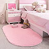 Childrens Area Rugs LOCHAS Ultra Soft Children Rugs Room Mat Modern Shaggy Area Rugs Home Decor 2.6' X 5.3', Pink
