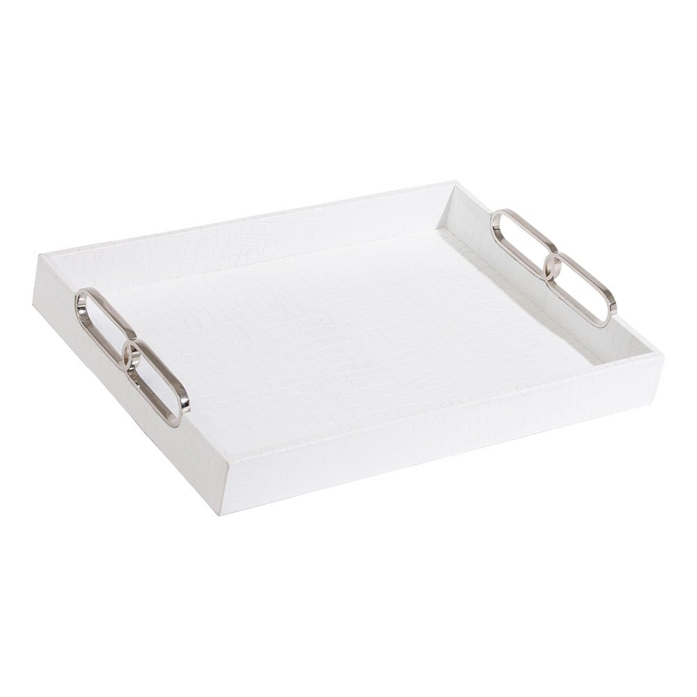 Ethan Allen Rectangular White Leather Tray