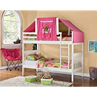 Twin Over Twin Mission Bunk Bed with Tent Kit in White and Pink