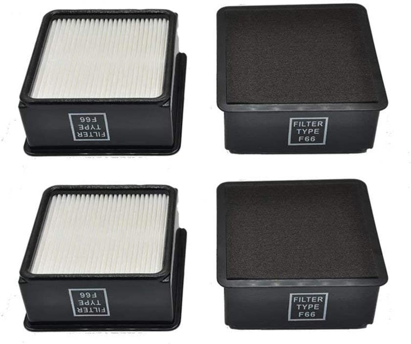 EZ SPARES 4 Packs Replacements for Dirt Devil F66 (F-66) Allergen HEPA Filters with Foam Insert F66 Filter & Foam