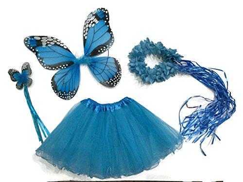 Rush Dance Ballerina Princess Fairy Dress up - Monarch Wings, Wand, Halo & Tutu (Turquoise)