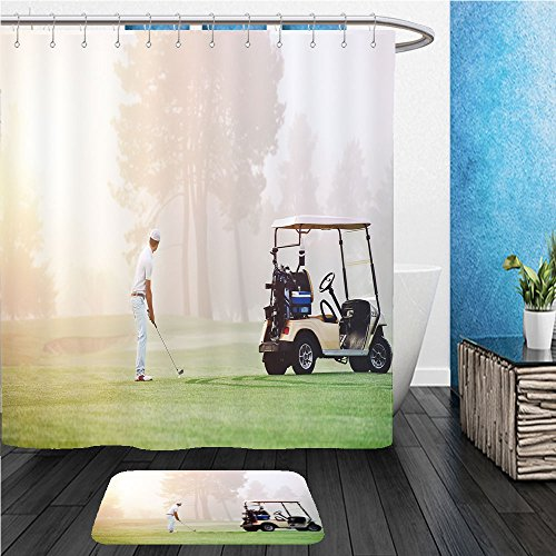 Beshowereb Bath Suit: ShowerCurtian & Doormat golfer lining up shot with iron club on golf course in fairway at sunrise 170135861
