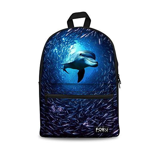 Bigcardesigns Blue Sea Dolphin Bag School Backpack for Girls Travel Rucksack ()