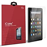 "Image of iCarez [HD Clear] Screen Protector for Amazon Fire HD Kids / Fire 7, 7"" (5th Generation 2015) [ Unique Hinge Install Method With Kits ] Easy Install with Lifetime Replacement Warranty [2-Pack]"