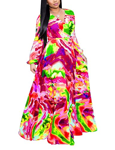 (Women's Faux Wrap V Neck Long Sleeve Tie Dye Print Empire Waist Maxi Long Flowy Dress Red 2XL )