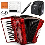 Hohner Accordions 1304-RED 48 Bass Entry Level Piano Accordion Bundle with Hohner Bag, Strap, Mini Harmonica, Juliet Music Polish Cloth & Piano Key Stickers (Color: 1304-Red, Tamaño: Piano)