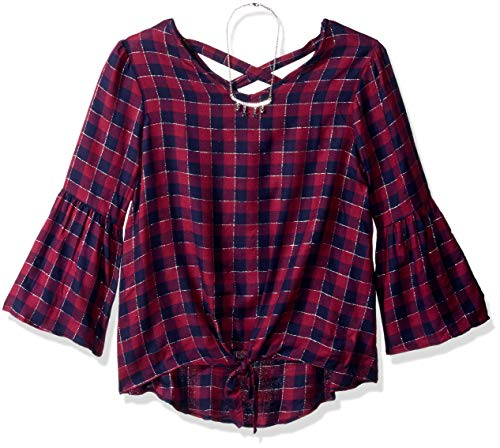 Amy Byer Girls' Big Bell Sleeve Shirt with Necklace, Plum/Navy/Plaid, XL (Plum Navy)