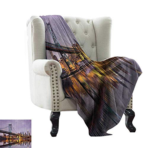 Apartment Decor Collection,Personalized Blankets Ben Franklin Bridge and Philadelphia Skyline Under Sunsets Reflections on Water Image 50