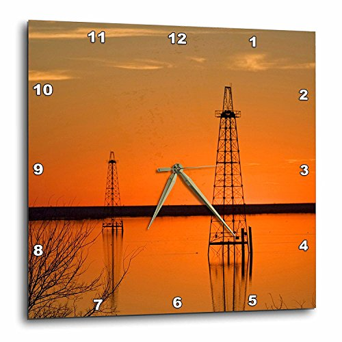 3dRose DPP_94465_3 Oil Well Derricks, Industry, Lake Arrowhead, Texas-Us44 Ldi0004-Larry Ditto-Wall Clock, 15 by 15-Inch