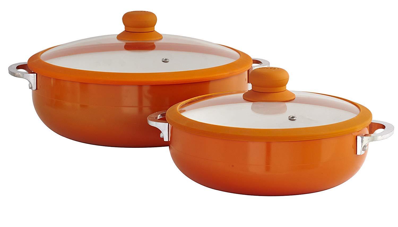 IMUSA USA CHI-80685 2 Piece Orange Ceramic Interior Caldero  Set with Orange Silicone Rim and Glass Lid