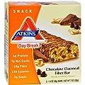 Atkins Day Break Chocolate Oatmeal Fiber Bar, 5-Count Bars (Pack of 2)