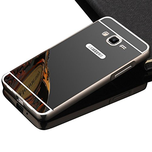 Galaxy On5 Case,DAMONDY Luxury Metal Air Aluminum Bumper Detachable + Mirror Hard Back Case 2 in 1 cover Ultra-Thin Frame Case For Samsung Galaxy On5 (Mirror_Black ) Back Metal Frame