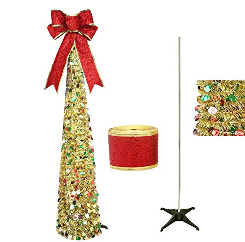 Awtlife Gold 5ft Pop up Christmas Tinsel Tree,Gorgeous Collapsible Artificial Christmas Tree and Ribbon for Xmas Decora