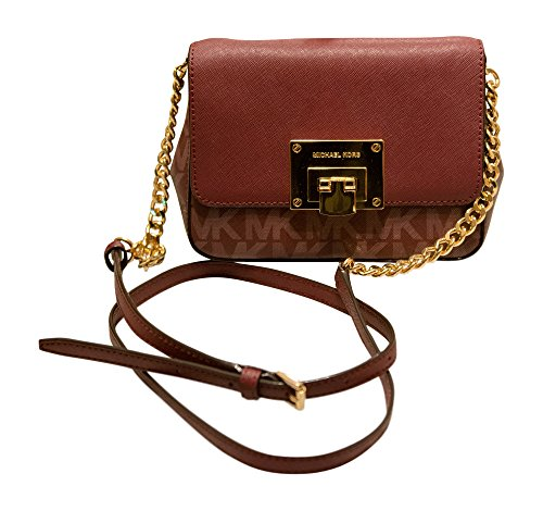Michael Kors Tina Small Leather Clutch, Crossbody Shoulder Bag, Merlot by Michael Kors