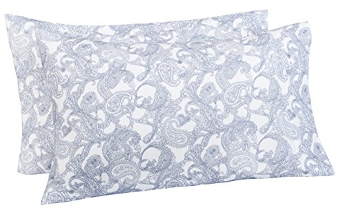 - Pinzon 170 Gram Flannel Cotton Pillowcases, Set of 2, King, Navy Paisley