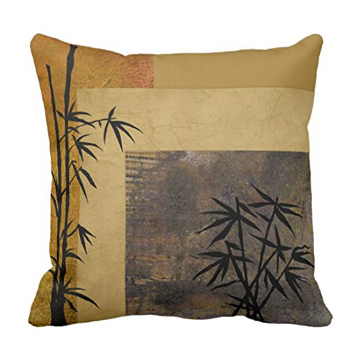 Emvency Throw Pillow Cover Yellow Asian and Bamboo Oriental Decorative Pillow Case Home Decor Square 16 x 16 Inch Pillowcase ()