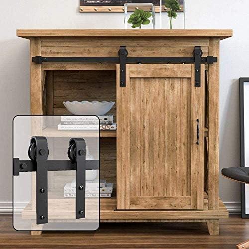 WINSOON 183cm Super Mini Sliding Barn Door Hardware Kit for Cabinet TELEVISION Stand Closet Fit 91.5cm Wide Single Door Panel – No Cabinet – J Shape Hanger