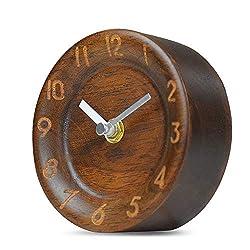 Ren Handcraft Handmade Wooden Bedside Table Clock, Modern Silent Analog Clock Gift