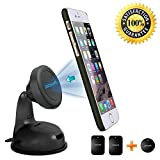 Magnetic Cell Phone Holder GPS Dashboard Mount - RhinoTeck Universal Mobile Phone Car Mount with Suction Cup for iPhone Samsung Galaxy Note Nexus HTC One and Other Smartphone - Black