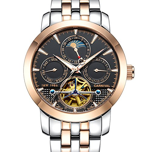Carnival Mens tourbillon Multifunction Calendar Sapphire Rose Gold Automatic waterproof Black Watches