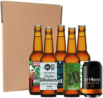 Pack degustación de IPAs artesanas (6 botellines / latas de 33 cl ...