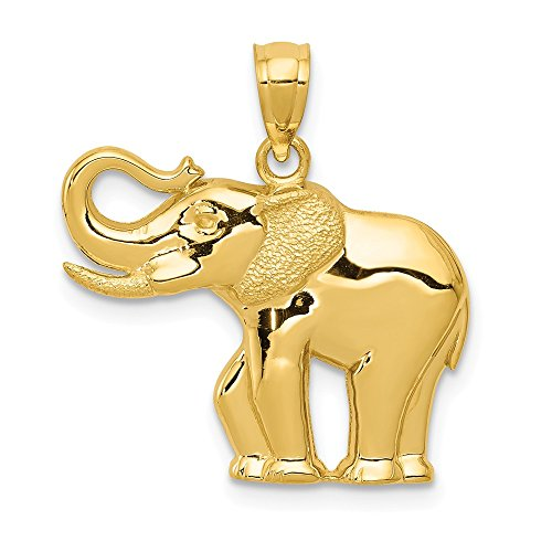 14k Yellow Gold Elephant Pendant Charm Necklace Animal Man Fine Jewelry Gift For Dad Mens For Him ()