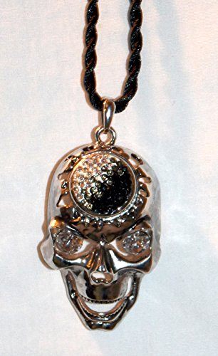 New Silver Grinning Skull Head with Rhinestone Eyes & 12mm Interchangeable Snap On Braided Cord Hanging Car Mirror Charm Decor (Black & Clear Rhinestones)