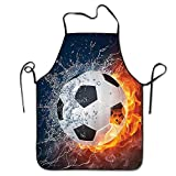 NLKDGS66DS Soccer Ball On Fire and Water Flame Adjustable Kitchen Chef Apron with Pocket and Extra Long Ties,Commercial Men & Women Bib Apron for Cooking,Baking,Crafting,Gardening, BBQ