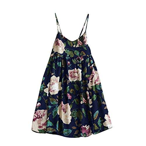 À Bleu2 Lady kinlene Robe Mini Courtes Dress Summer Party Floral Manches Femmes Print Imprimée Pour Femmes UpVGqSzM