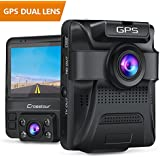 Uber Dual Lens Dash Cam Built-in GPS in Car Dashboard Camera Crosstour 1080P Front and 720P Inside With Parking Monitoring, Infrared Night Vision, Sony Sensor, Motion Detection, G-sensor and WDR